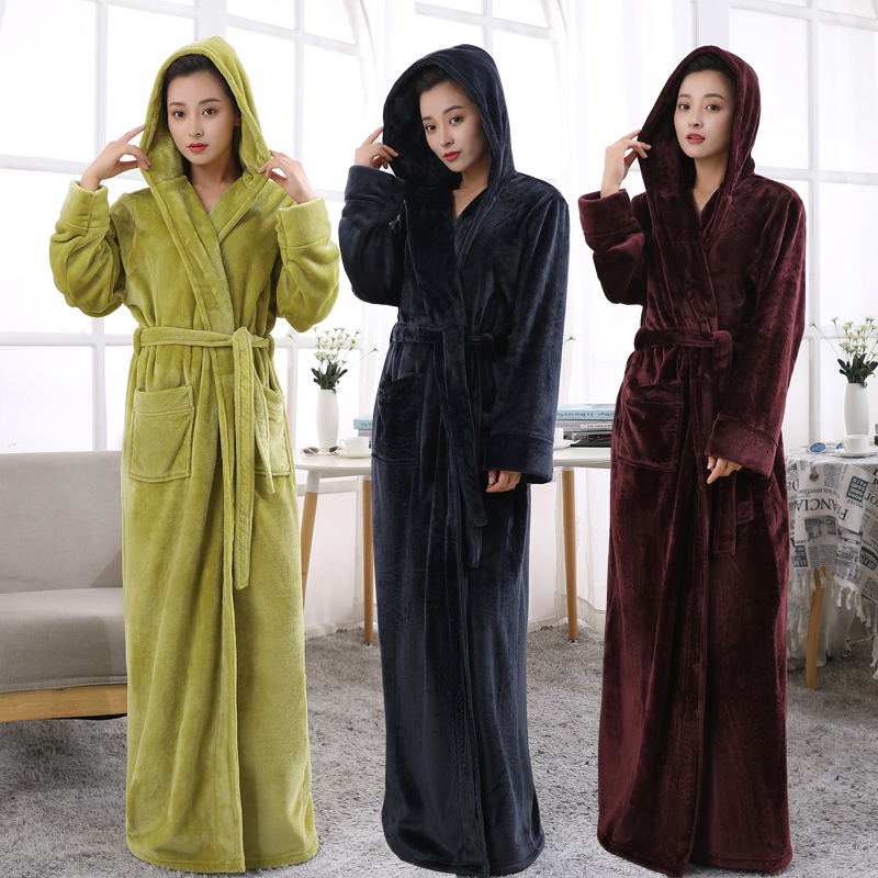 Women Hooded Extra Long Warm Bathrobe Hot Thickening Flannel Winter Kimono Bath Robe Men Thermal Dressing Gown Bridesmaid Robes