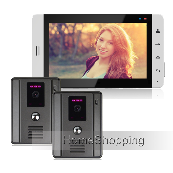 FREE SHIPPING Home phone New 7 Color White Screen Touch Button Video Door Phone Intercom + 2 Waterproof Outdoor Camera IN STOCK jeruan home 7 video door phone intercom system kit rfid waterproof touch key password keypad camera remote control in stock