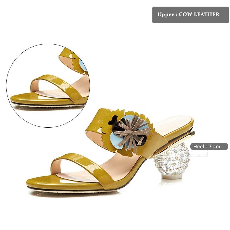 Bout Dames Femmes Ouvert Sur Chaussures Glisser Vache Mode Mules À Talons Pantoufles Haute Wetkiss 2018 Cristal Blanc Cuir En Diapositives jaune Nouveau D'été De Fleurs q7wn6IO