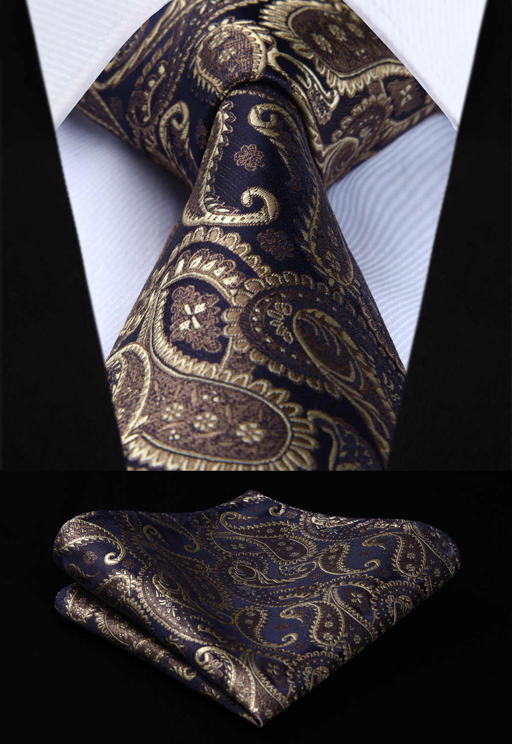 "TP832D8S Bruin Paisley 3.4 ""Zijde Tie Pocket Plein Party Wedding Zakdoek Set Geweven Classic Mannen Stropdas"