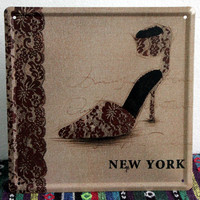 Lace Shoes Sexy Vintage Bar Coffee House Decor Metal Wall Art Decoration Iron Painting Retro