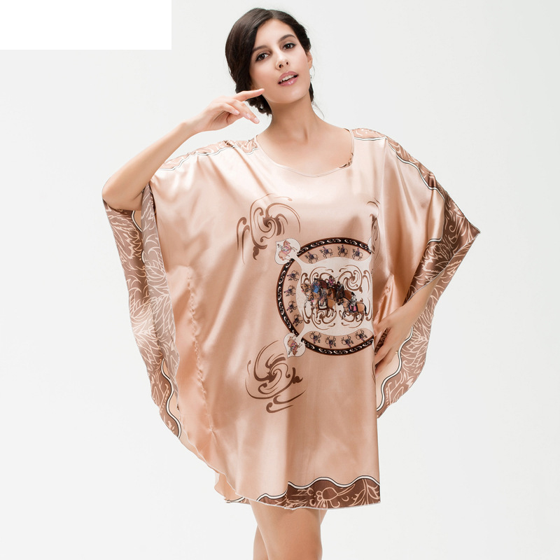 Nightgowns     Sleepshirts   Women's Summer Lounge Robe Lady New Sexy Home Dress Bat Sleeve Large Loose Sleepwear Bathrobe Gown YT09