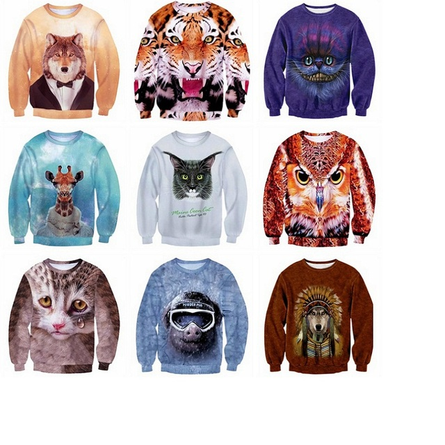 High-quality boy baseball clothing 3D digital animal prints Hip-Hop clothing hedge Spring and Autumn section sweater 11-20 years