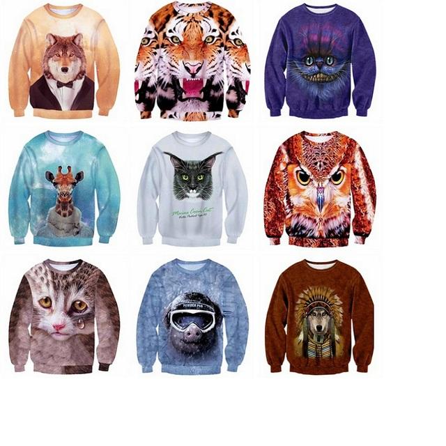 Ropa de béisbol de alta calidad digital 3D animal prints Hip-Hop ropa de Primavera y Otoño sección de cobertura suéter 11-20 años