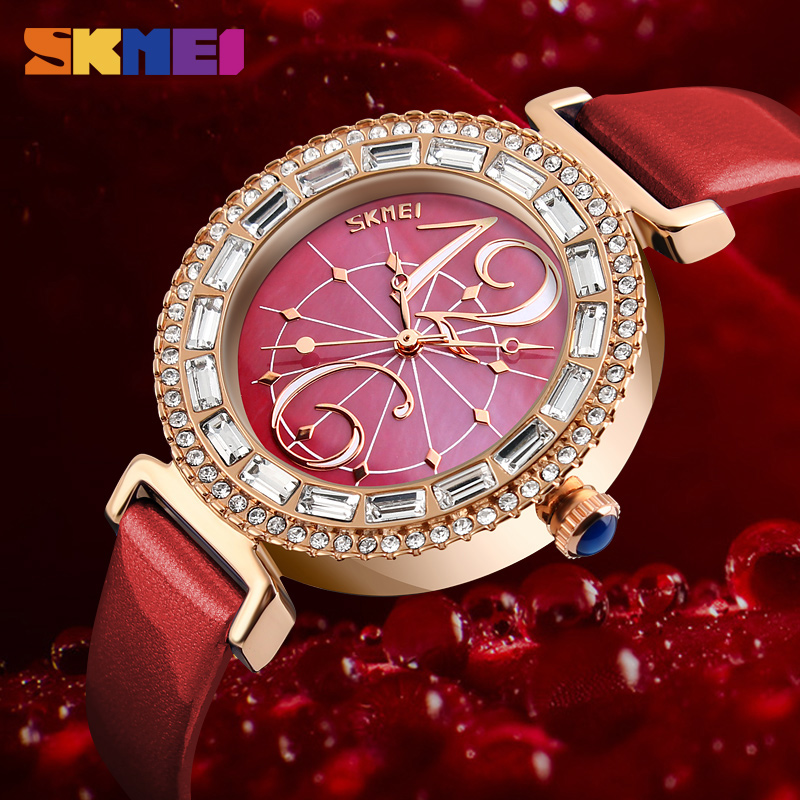 SKMEI Women Fashion Watches Luxury Brand Leather Strap Quartz Watch Ladies Waterproof Casual Wristwatches Relogio Feminino new top brand guou women watches luxury rhinestone ladies quartz watch casual fashion leather strap wristwatch relogio feminino