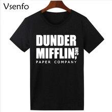 Vsenfo Company T Shirt Men Short Sleeve The Office TV Show Dunder Mifflin Paper T-Shirt Crew Neck Tee Shirts For Men S-XXXL