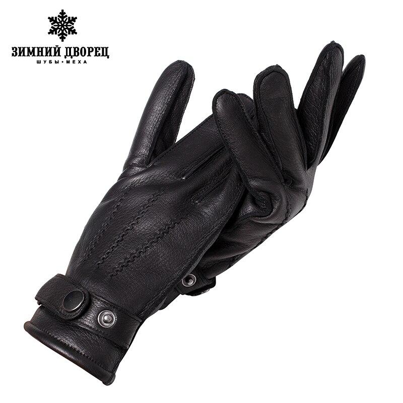 Véritable Cuir gloveLuxury gants mâle gants en cuir De Mode Populaire gants d'hiver gars Dur gants hommes noir Snap conception - 3