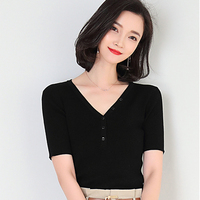 Knitted T shirt Women's Summer 2009 Korean Women's Clothes Pure color Heart Machine Short sleeved Knitted Blouse Women SR T3129