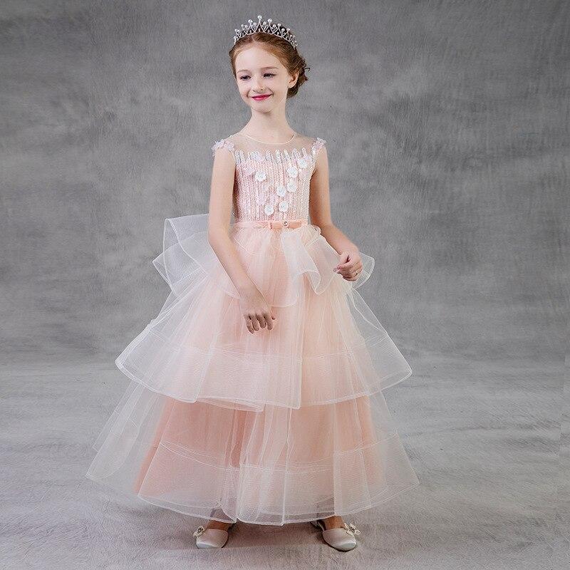 Big Children   Flower     Girl     Dress   Pink Lace O-neck Sleeveless Bow-knot   Dress   Lovely   Flower     Girl     Dresses