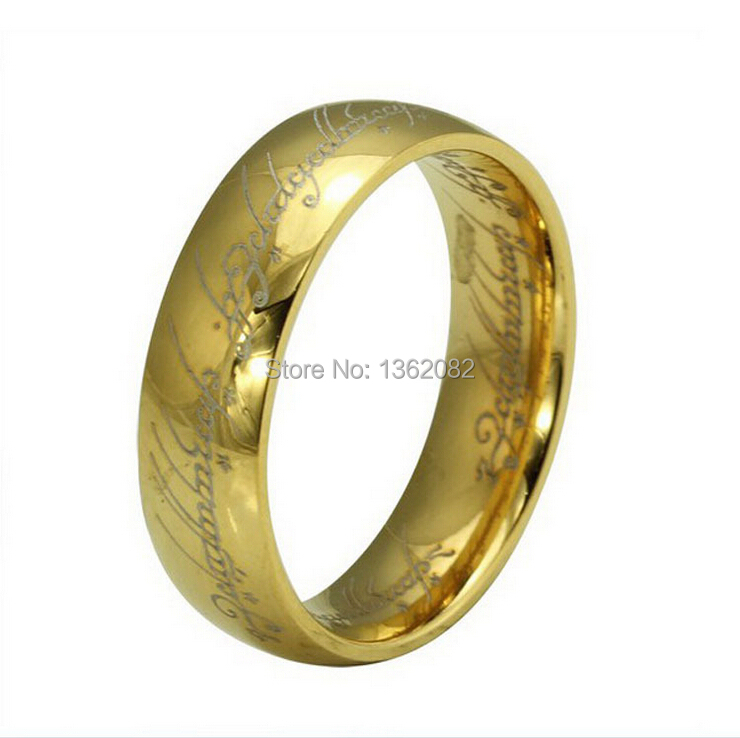 senhua cool men womens jewelry 6mm stainless steel rings 3colors the hobbit lotr the one ring - Lotr Wedding Ring