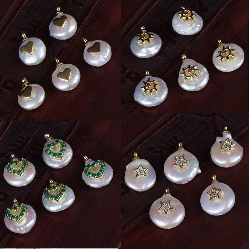 רב צורת זעיר זהב קסמי מטבע מים מתוקים פרל חרוז תליון קסם עבור אישית תכשיטי ביצוע חתונה יום הולדת תכשיטים