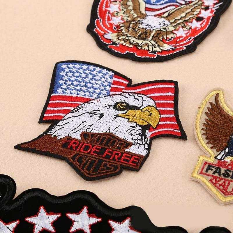 dbb1540a ... PGY American Eagle Army Badge Punk Rock Bike Patch Large Embroidery  Biker Patch Motorcycle Patches For ...