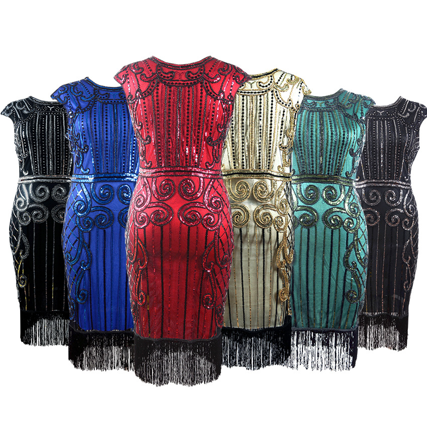 1920s Women Flapper Dress Sequin Beaded Art Deco Gatsby Party Vintage Fringe Fancy Dress Cocktail Costume for PromS-XL