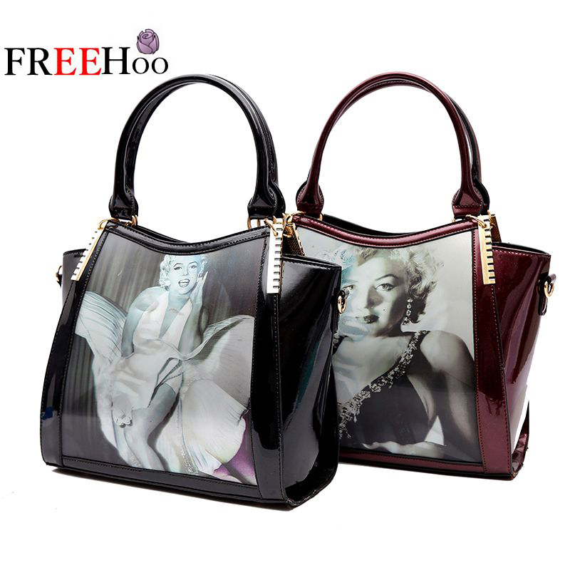 ФОТО 2017 Europe new style fashion 3D changing image luxury patent leather famous brand design upscale handbag women bags sac a main