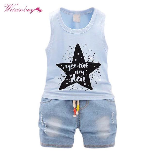 a206c24e7082 New 2018 Summer Baby Boy Clothes Fashion Cotton Sleeveless Tank Top+Fish  Printed Shorts Baby Boys Clothing Set Infant 2pcs Suit