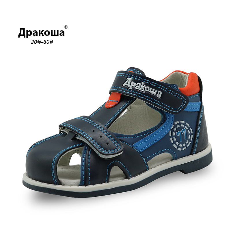 Apakowa Top quality 2017 kids sandals pu leather children shoes breathable flats toddler boys sandals Summer sandal arch support