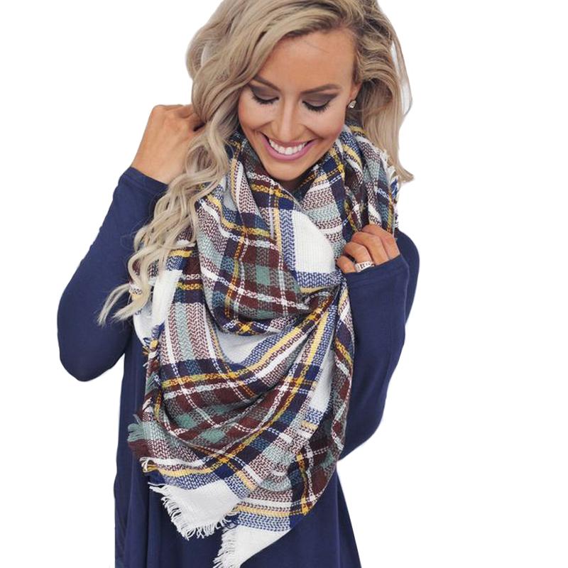 Brand Fashion Winter font b Tartan b font Female Scarf Designer Checkered Wool Blend Shawls Hot