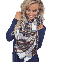 Brand Fashion Winter Tartan Female Scarf Designer Checkered Wool Blend Shawls Hot Sale Thicken Soft Pashmina Scarf  ZAG1301
