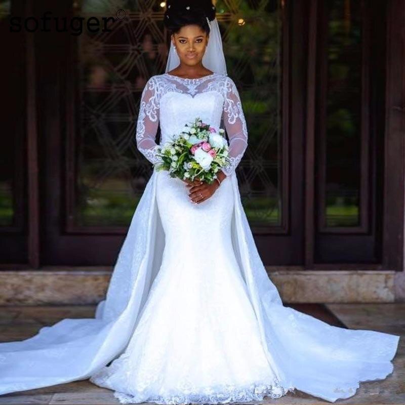 Nigrian Bridal Wedding Dresses: 2019 Country Lace Mermaid Wedding Dress Long Sleeves