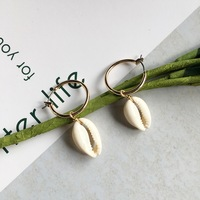 10/20/50pairs Natural Simple Cowrie Shell/seashell Dangle Drop Earring Jewelry for women and girls gift