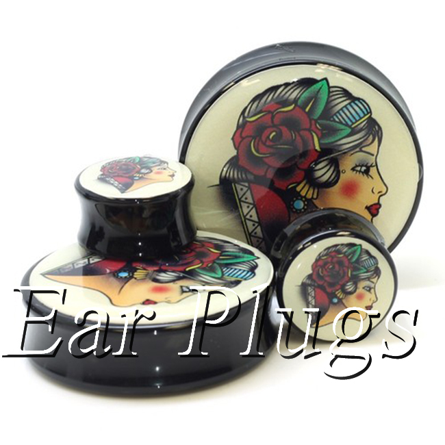 1 pair plugs acrylic piercing gypsy lady swallow saddle ear plug gauges tunnel body piercing jewelry PSP0016