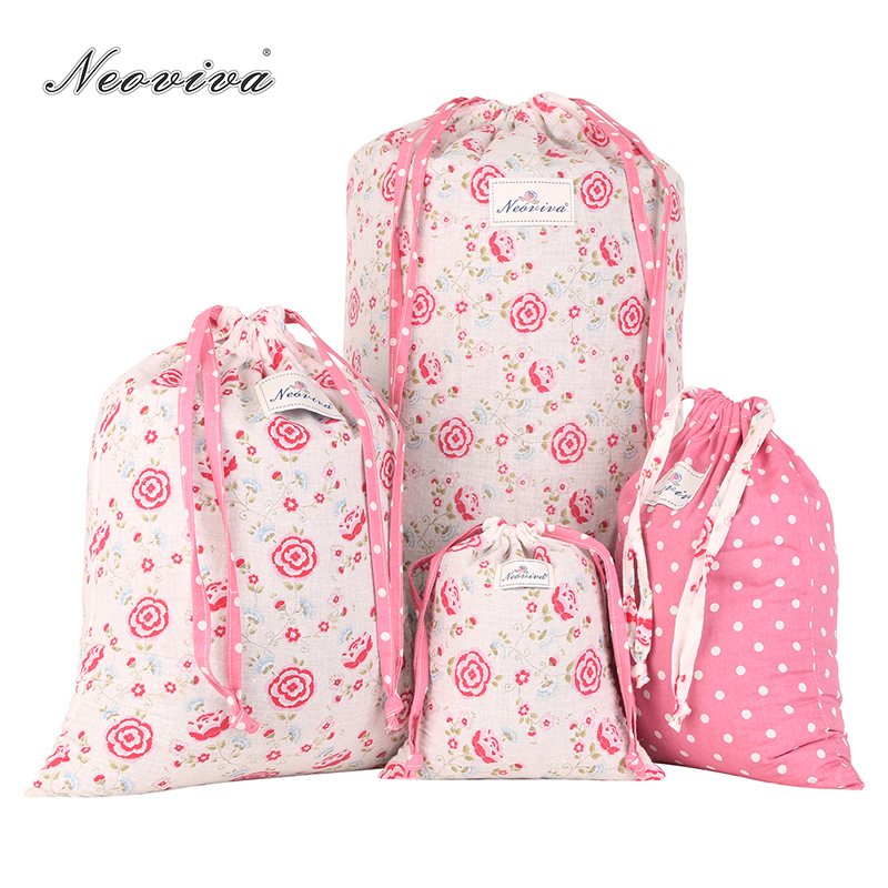 Neoviva Cotton Laundry Bag for Travel with Drawstring, Pack of 4 in Different Sizes and Patterns, Floral Prism Pink Cesto Ropa
