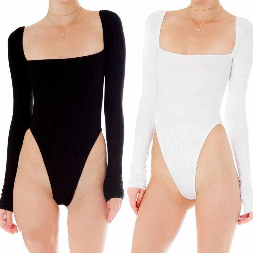 Женский боди с длинным рукавом эластичный купальник Топы белый черный комбинезон облегающие Топы Рубашка Боди Женский