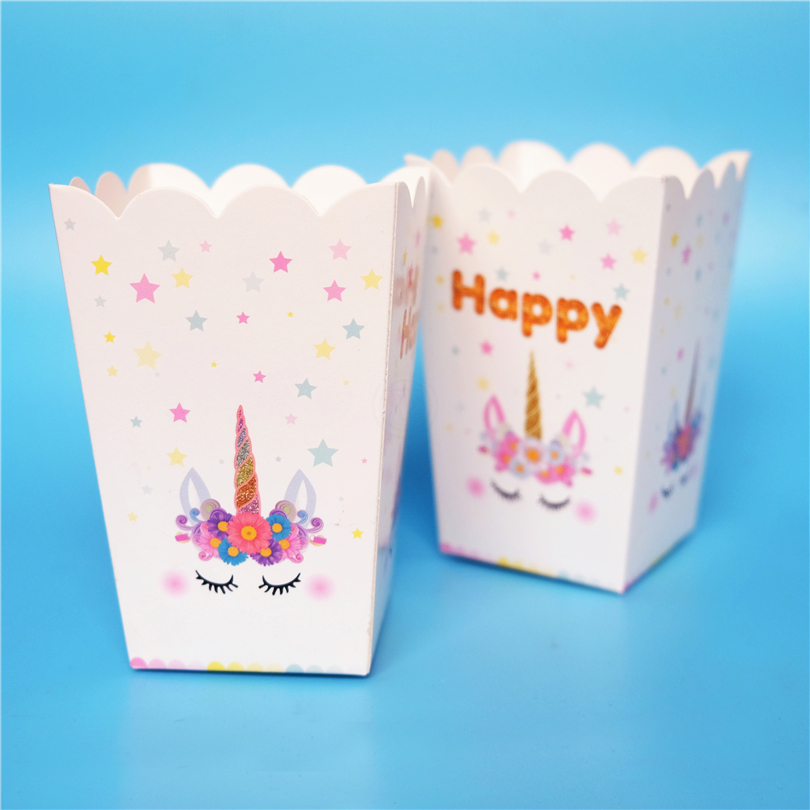 6pcs/lot Unicorn Horse Kids baby Party Supply Popcorn Box case Gift Box Favor Accessory Birthday Party Supplies