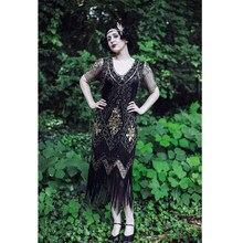 22c3ea1edc2 Gatsby 1920 s Aileron Robe Femmes V Cou Cocktail Robe Vintage Sequin Fringe  Parti Robe avec Manches pour De Bal
