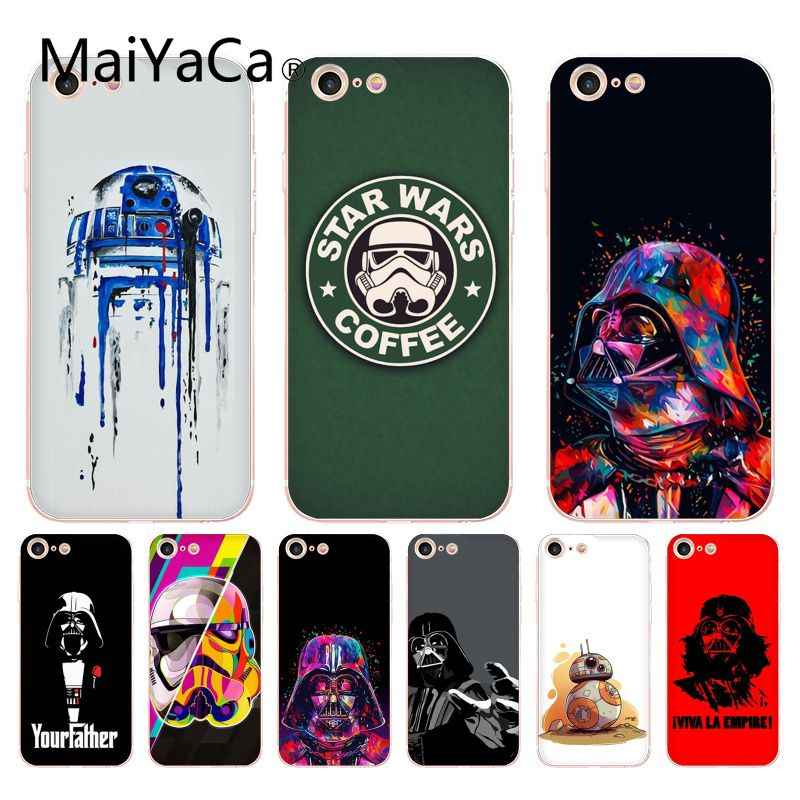 MaiYaCa para iphone 7 6 X funda R2D2 BB8 Star Wars café funda transparente para iphone 8 7 6 6S Plus X 10 X XS XR XSMAX 4