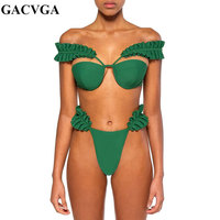GACVGA 2019 Sexy Bodysuit Two Pieces Set Women Ruffles Backless Green Summer Bodysuits Push Up BIKINI Sexy Beach Swimsuit