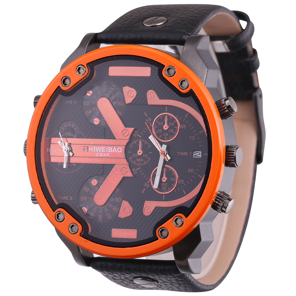 top luxury dz style mens watches cool quartz watch for men black leather strap dual time zones male clock (10)