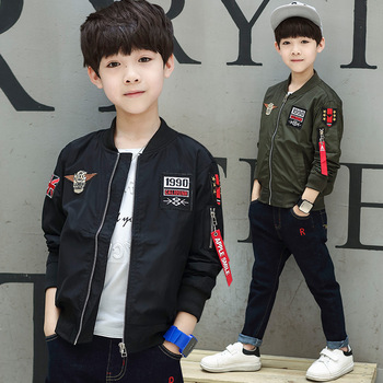2018 New 2Colors Toddler Boys Jacket Autumn Spring Army Style Kids Bomber Jacket for Boys Outerwear Tops Boys Clothings
