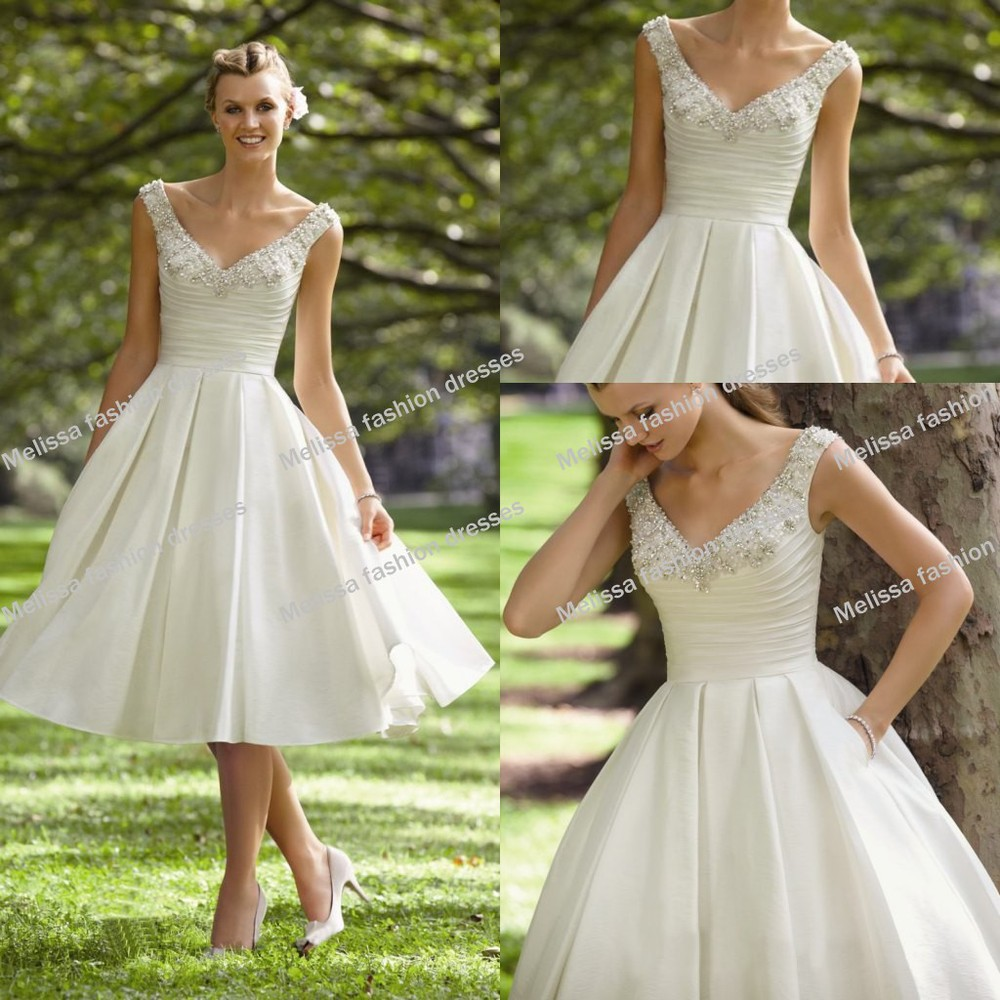 2014 newest new arrival two shoulder v neckline beaded for Calf length wedding dresses