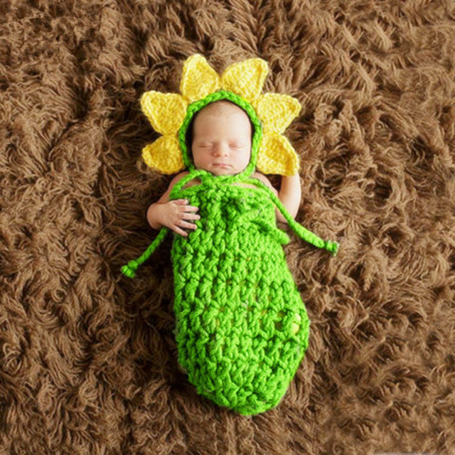 Creative Baby Photography Costume Suit Crochet Knitted Baby Photos Sleeping Bag Newborn Baby Fotografia Props Accessories