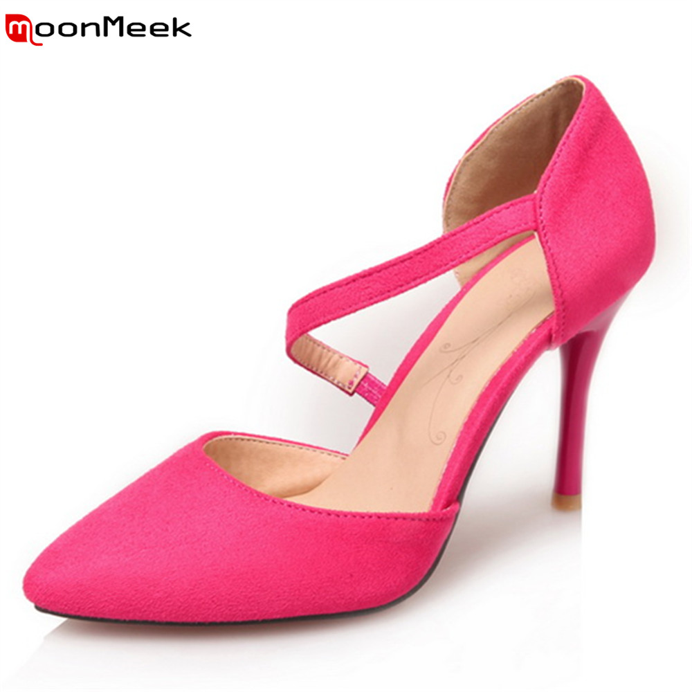 MoonMeek 2018 sexy ladies pumps pointed toe princess extreme high heels elastic band thin heel flock dress female shoes moonmeek new arrive spring summer female pumps high heels pointed toe thin heel shallow party wedding flock pumps women shoes