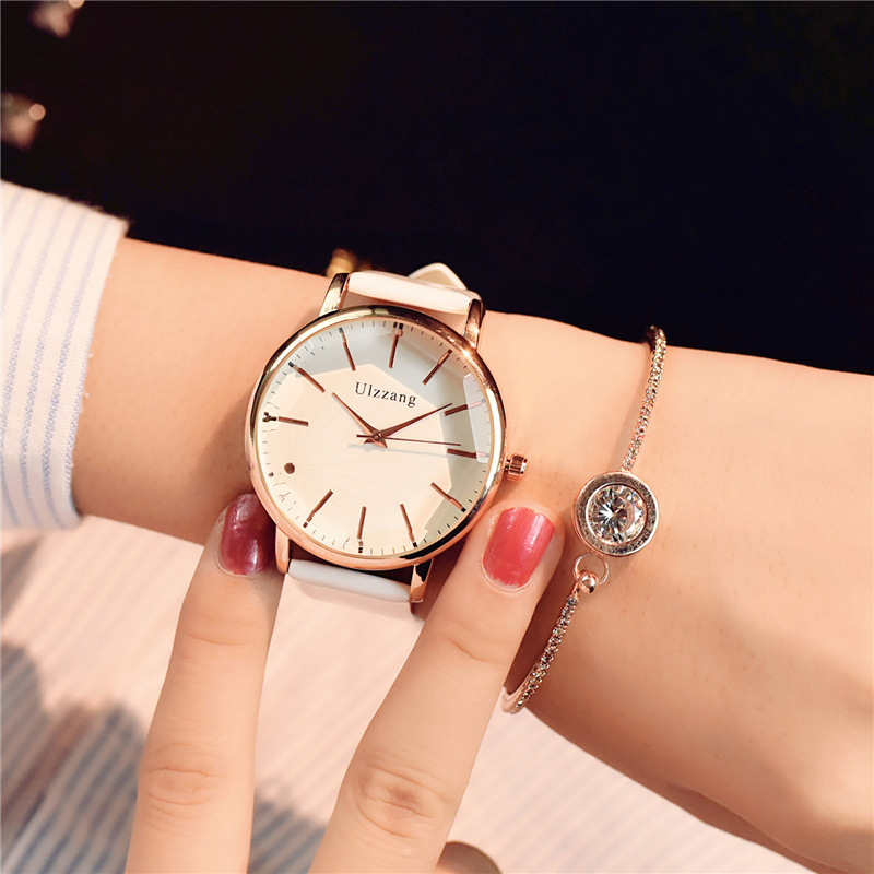 Diagonal design leather  luxury women watch quartz pink watch  2