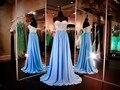Vestidos de baile 2016 de Novia Sin Mangas Rebordear Gasa Una Línea de Vestido de Noche Largo Vestido de Fiesta MF317