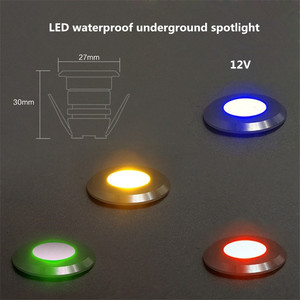 Image 1 - Mini LED, pod ziemią, lekka 1W IP67 ogród światła na zewnątrz wodoodporna okrągła dioda LED krok światła DC12V LED światła pokładowe reflektor LED RGB
