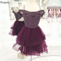 Милые короткие платья для выпускного вечера 2019 топ с крупным бисером сладкий 16 фиолетовый 8th без спинки класс выпускные платья