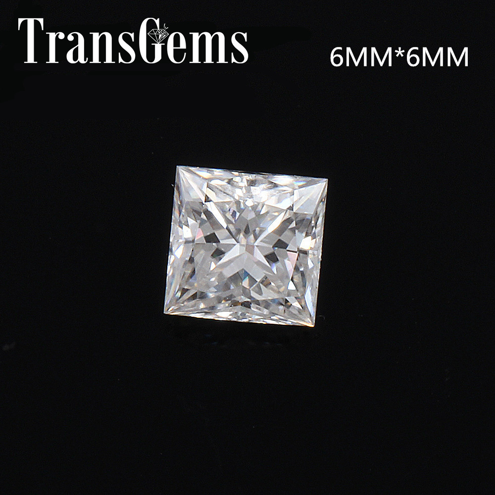 TransGems 1.25 Carat 6mm*6mm F Color Princess cut Moissanite Diamond Loose Stone Test Positive as Real Diamond aeaw 1 25 carat 6mm 6mm f color princess cut moissanite lab diamond loose stone test positive