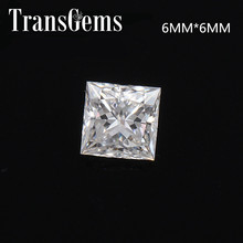 TransGems 1.25 Carat 6mm*6mm F Color Princess cut Moissanite Diamond Loose Stone
