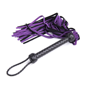 LONG 68CM Genuine Leather Pimp Whip Racing Riding Crop Party Flogger Queen Purple Whip for Sex Horse Bdsm Sex Toys for Woman