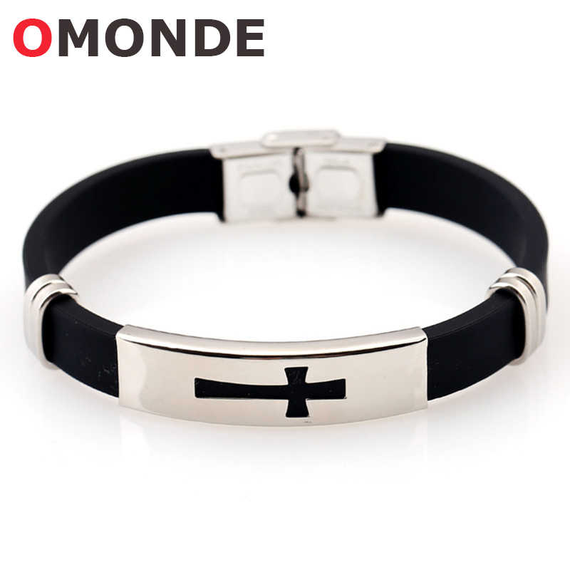 NEW Stainless Steel Black Silicone Jesus Cross Bracelets Religious God Blessing Christian Crucifix Lucky Jewelry for Men Women