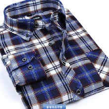 Men Long Sleeve Grind Turn-down Collar Single Breasted Shirt Chemise,Plaid Printed Flanel Cotton Shirts Autumn Winter Base