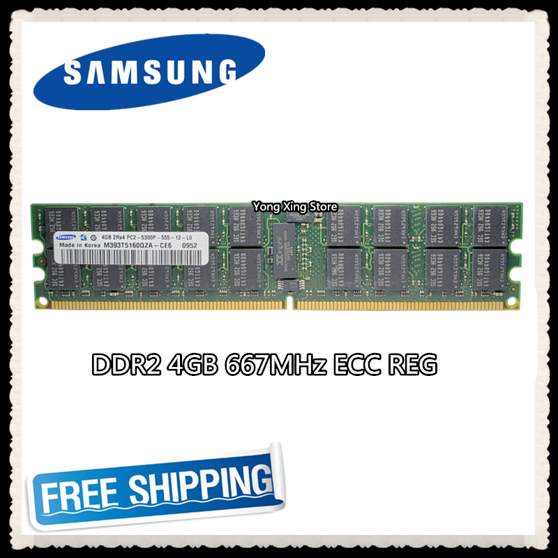 Серверная память Samsung 4 ГБ DDR2 2Rx4 REG ECC RAM 667 МГц PC2-5300P 667 4G