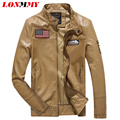 LONMMY PU Leather jacket men coat Men Clothes Slim Owl embroidery mens leather jackets and coats jaqueta de couro spring Suede