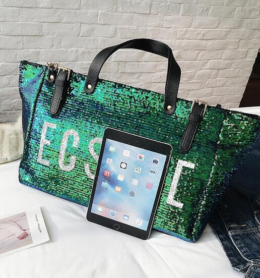 Women Big Tote bags 2018 High Quality PU Leather Handbags Women's Designer Handbag Large Handbags Sequins Letters Shoulder Bags 5