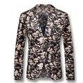 2016 Hombres Blazers Florales Abrigos Chaquetas De Vestir Trajes Anzug Herren hombres Casual Fashion Slim Fit Solo Botón Blazers Estilo chaquetas