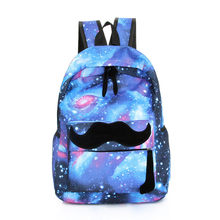 66c2edfc4755 2017 Girls Boys Canvas Backpack Moustache Galaxy School Backpacks Pattern  Rucksack Travel Bags School Bookbag(